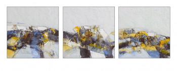 Paysage bleu et jaune et gris, encaustique sur panneau 30x30