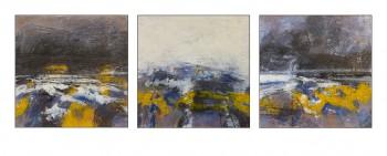 Paysage bleu et noir et jaune et blanc, encaustique sur panneau 30x30