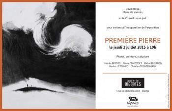 Invitation expo Bigotes PREMIERE PIERRE, avec un œuvre de Marion Le Pennec